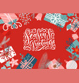 christmas card with gift boxes xmas greeting vector image vector image