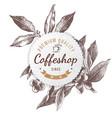 coffeshop paper emblem vector image vector image