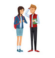 colorful couple students standing of girl in vector image vector image
