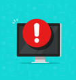 computer with alarm or alert sign icon vector image
