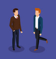 couple of men avatars characters vector image