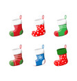 cute christmas socks set vector image vector image