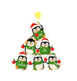 cute penguins form a christmas tree shape - funny vector image