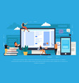 e-learning flat background vector image