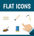 flat icon farm set of lawn mower tool cutter and vector image vector image