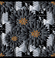 floral seamless pattern black tribal background vector image