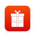 gift box with ribbon icon digital red vector image vector image