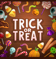 halloween trick or treat candies and sweets card vector image vector image