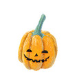 hand drawn smiling pumpkin isolated on white vector image