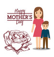 happy mothers day mom with son and flower vector image vector image