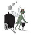 house-fly with power jackhammer vector image