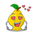 in love ripe yellow quince fruit on mascot vector image