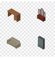 isometric design set of drawer couch sideboard vector image vector image