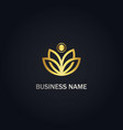 lotus flower nature gold logo vector image vector image