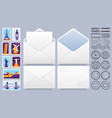 mail envelope with post stamps postage stamp vector image