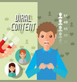 man holds mobile viral content with magnet vector image vector image