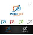 mobile food logo for restaurant or cafe vector image vector image