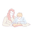 mother and son doing homework book and copybook vector image vector image