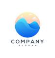 mountain sea logo design vector image