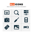 music icons set with wifi search audio and other vector image vector image