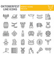oktoberfest line icon set bavarian holiday vector image vector image