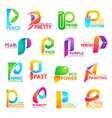 p letter corporate identity company icons vector image vector image