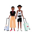 pair of african american boy and girl dressed in vector image