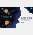 paper cut outer space web banner template vector image