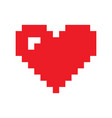 pixel red heart icon red and black vector image vector image