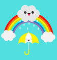 rainbow cute cartoon kawaii cloud with rain drops vector image vector image