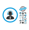 Reception Operator Flat Icon with Bonus vector image vector image