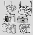 retro camera vintage doodle hand-drawn collection vector image