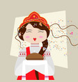 russian girl in traditional suit with bread and vector image vector image