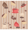 Seamless pattern with coffee cups and cakes vector image vector image
