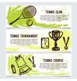 set for tennis school tournament equipment vector image