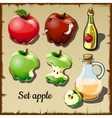 Set of red and green apples and drinks of them vector image vector image