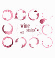 set of wine stains and splatters vector image