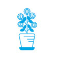 silhouette plant with coins leaves inside vector image vector image