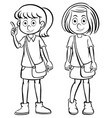 two girls with happy face vector image