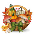 watercolor colorful basket with mushrooms vector image vector image