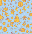 year seamless doodle background vector image