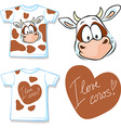 shirt with cute brown and white cow - vector image