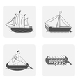 mohochrome icon set with boat and sailboat vector image
