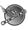2 point wrench motorcye vintage drawing black vector image