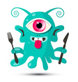 Alien - Monster or Bacillus with Fork and Kn vector image vector image