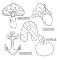 apple anchor amanita acorn letter a in kids vector image vector image