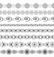 black and white seamless borders vector image vector image