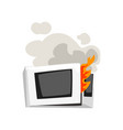 broken burning microwave oven damaged home vector image
