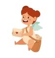 cartoon postman angel girl holding mail heart vector image