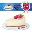 cheesecake with raspberry icon cartoon vector image